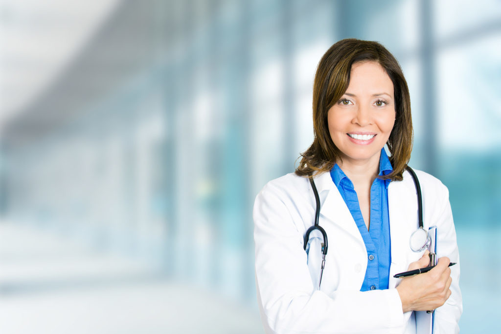 Confident, smiling female physician