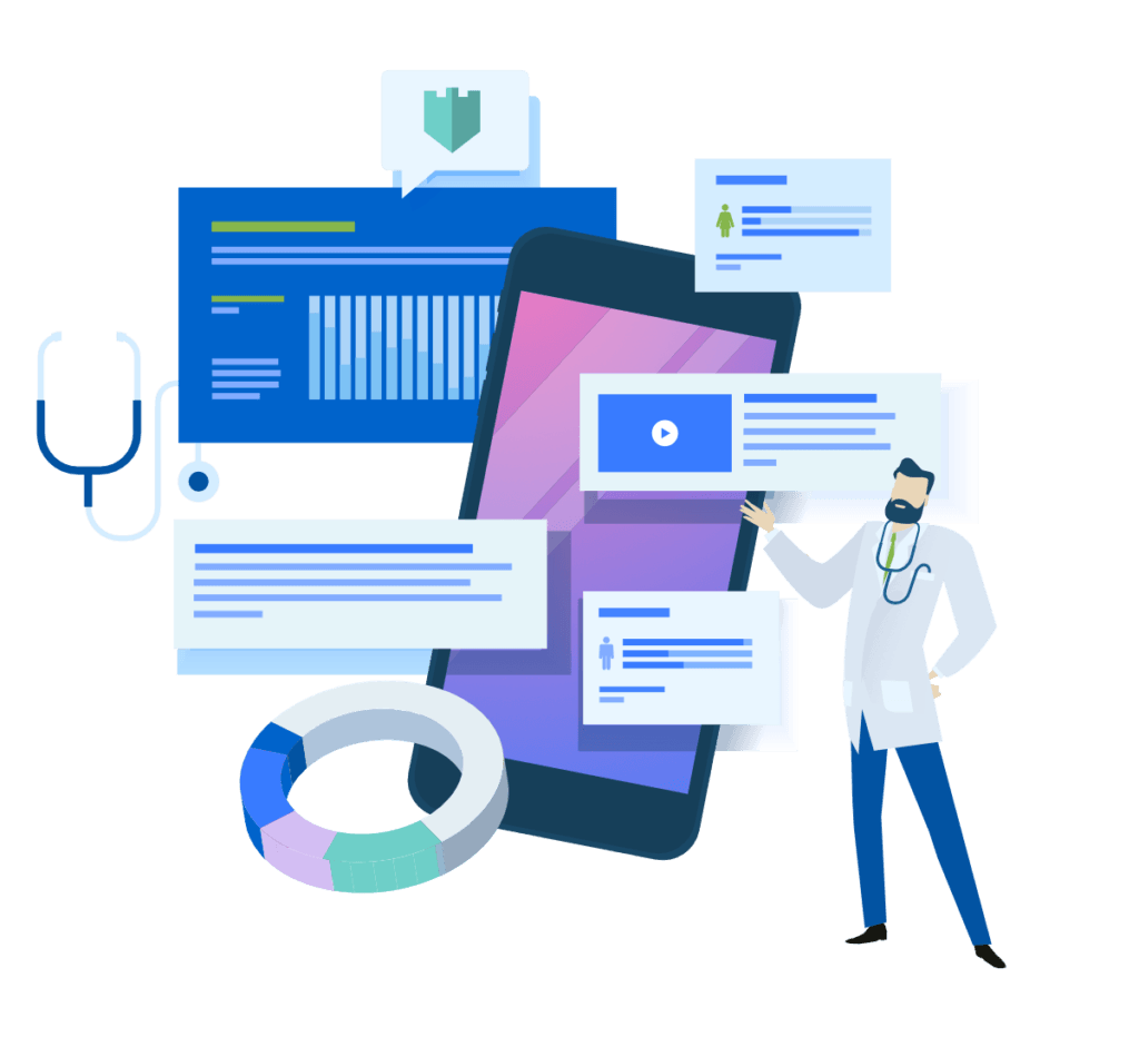 Illustration of a physician with a mobile device and medical and analytical symbols