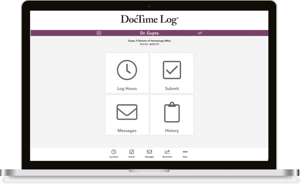 DocTime Log laptop mock-up