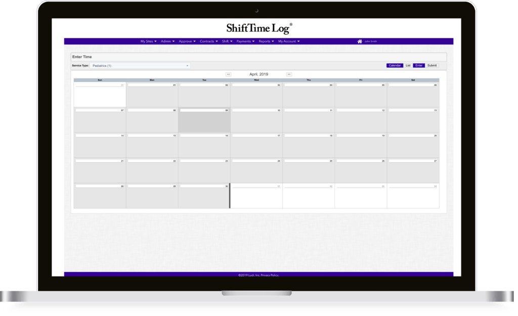 ShiftTime Log laptop mock-up