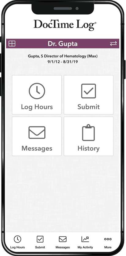DocTime Log mobile phone mock-up
