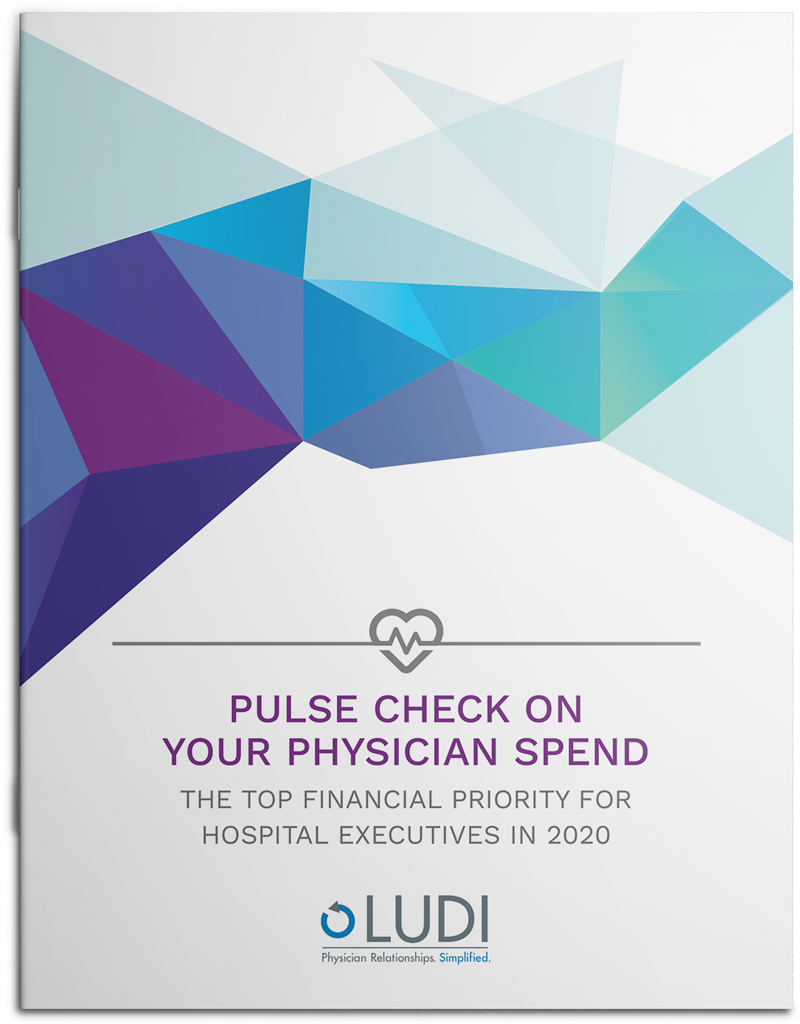 "Cover mock-up of Ludi's ""Pulse Check on your Physician Spend: The Top Priority for Hospital Executives in 2020"" white paper"