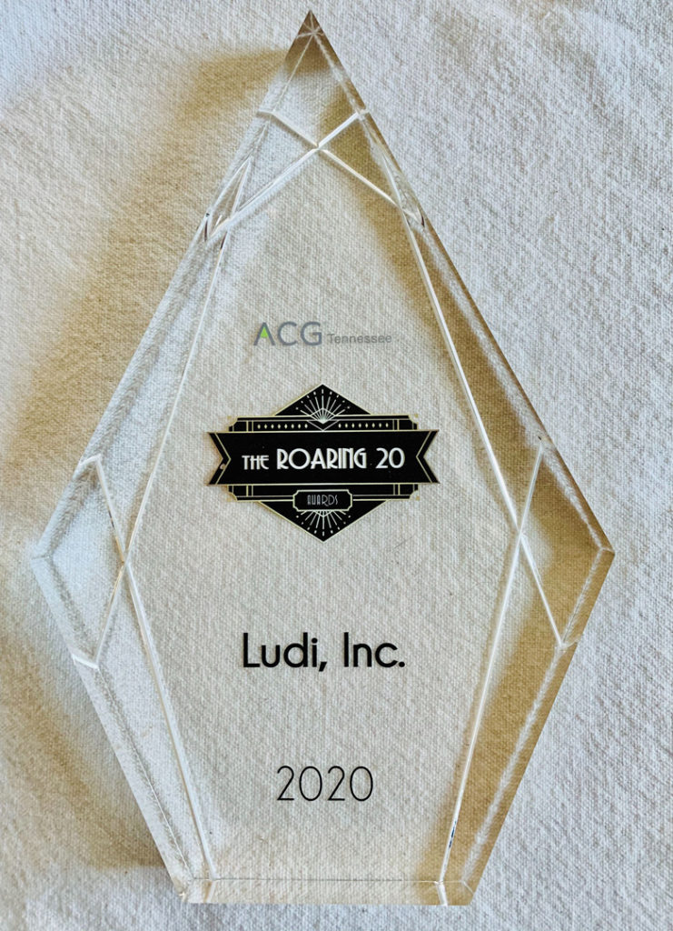 The ACG Tennesse Roading 2020 Awards Trophy that Ludi received