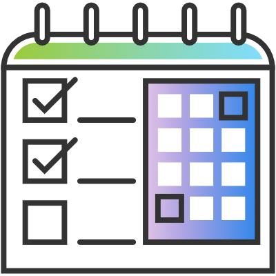 Icon of a calendar and to-do list