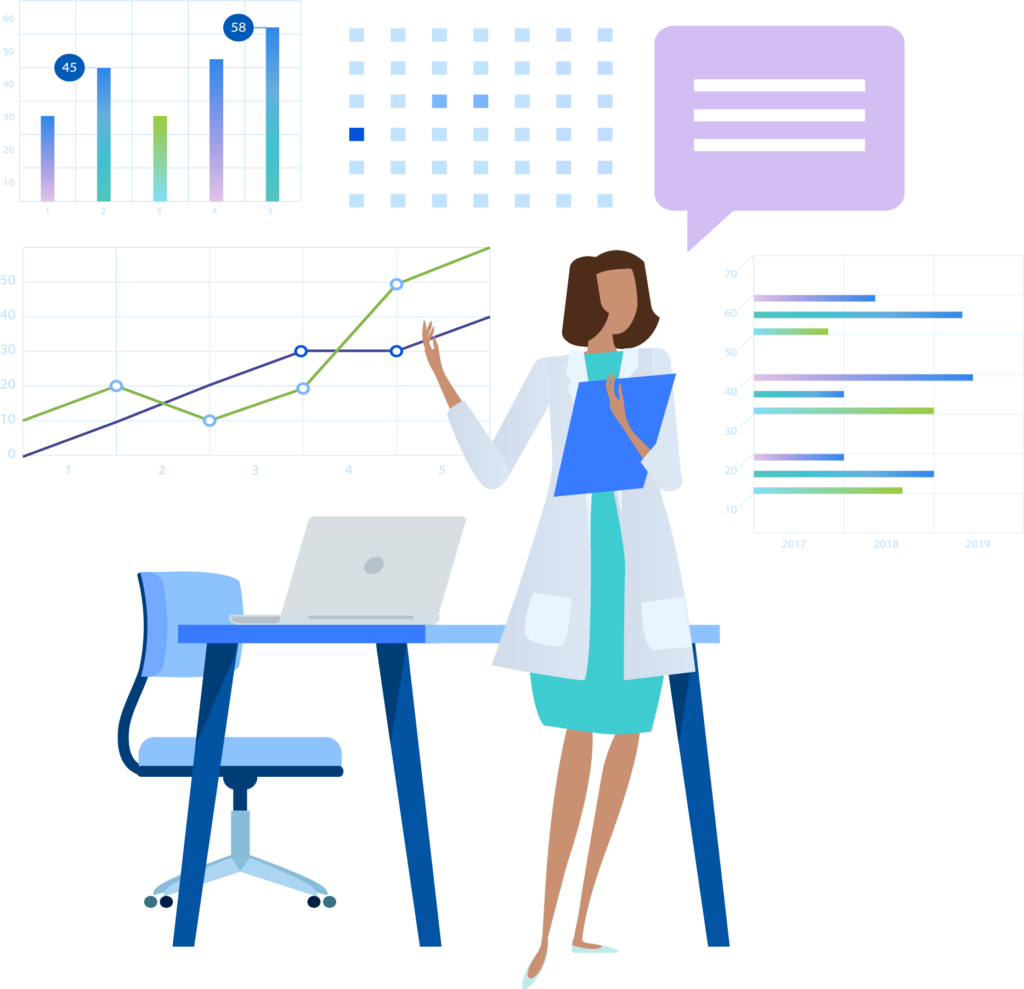 Illustration of a female physician holding a clipboard with a desk and surrounding by charts and graphs representing data analysis