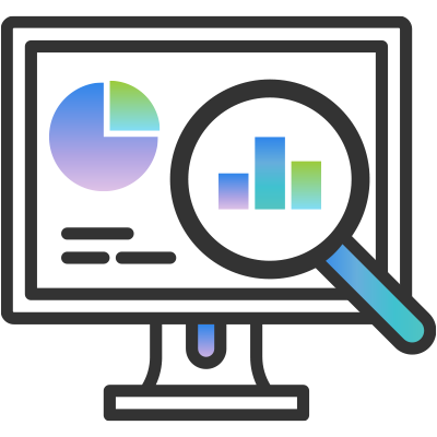 Icon showing a computer display with a magnifying glass and analytical data shown as charts and graphs